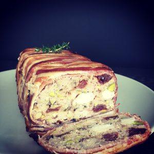 pork chicken terrine chutney pear melba toast watercress